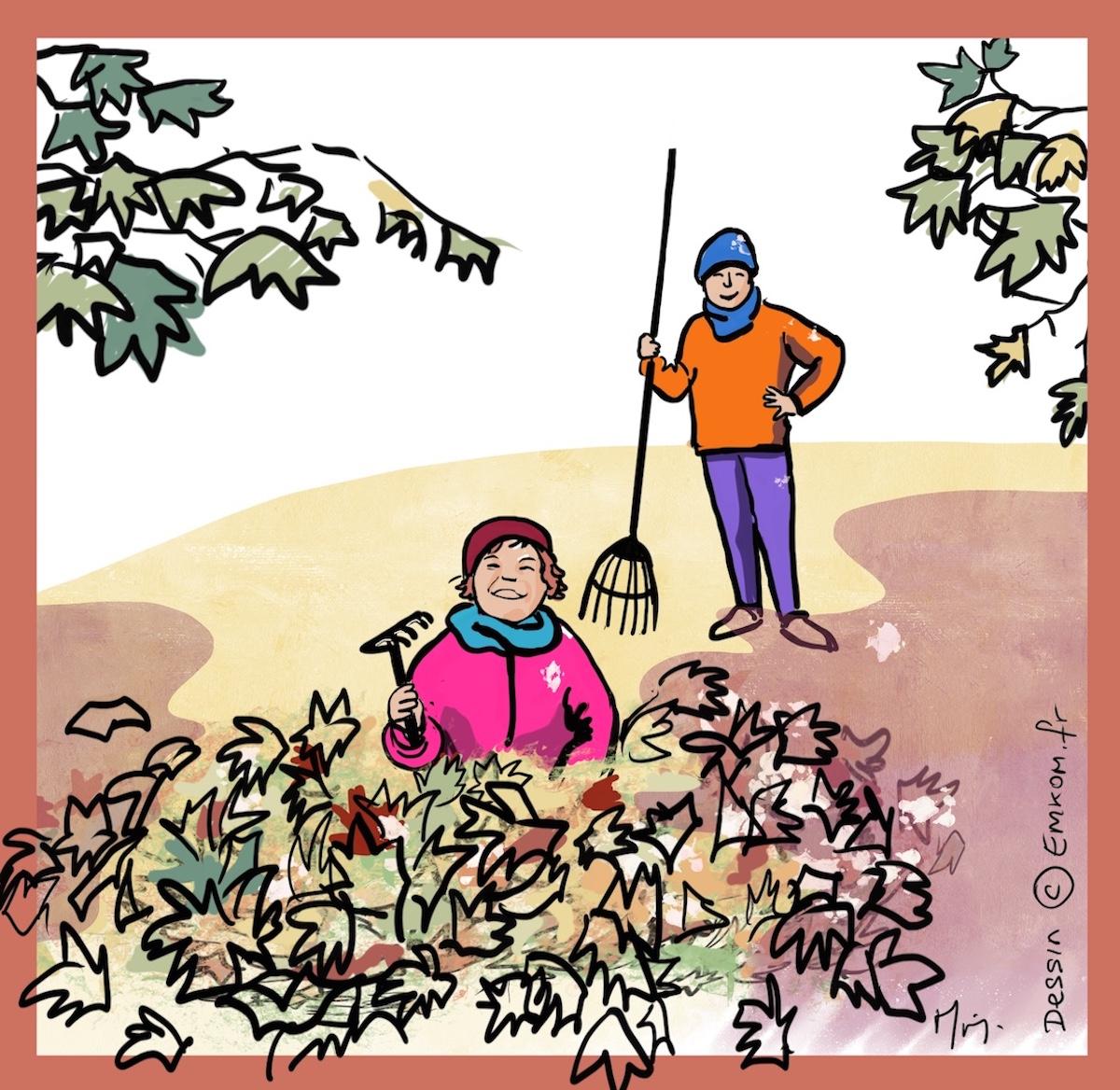 Dessin enfants ramassant des feuilles
